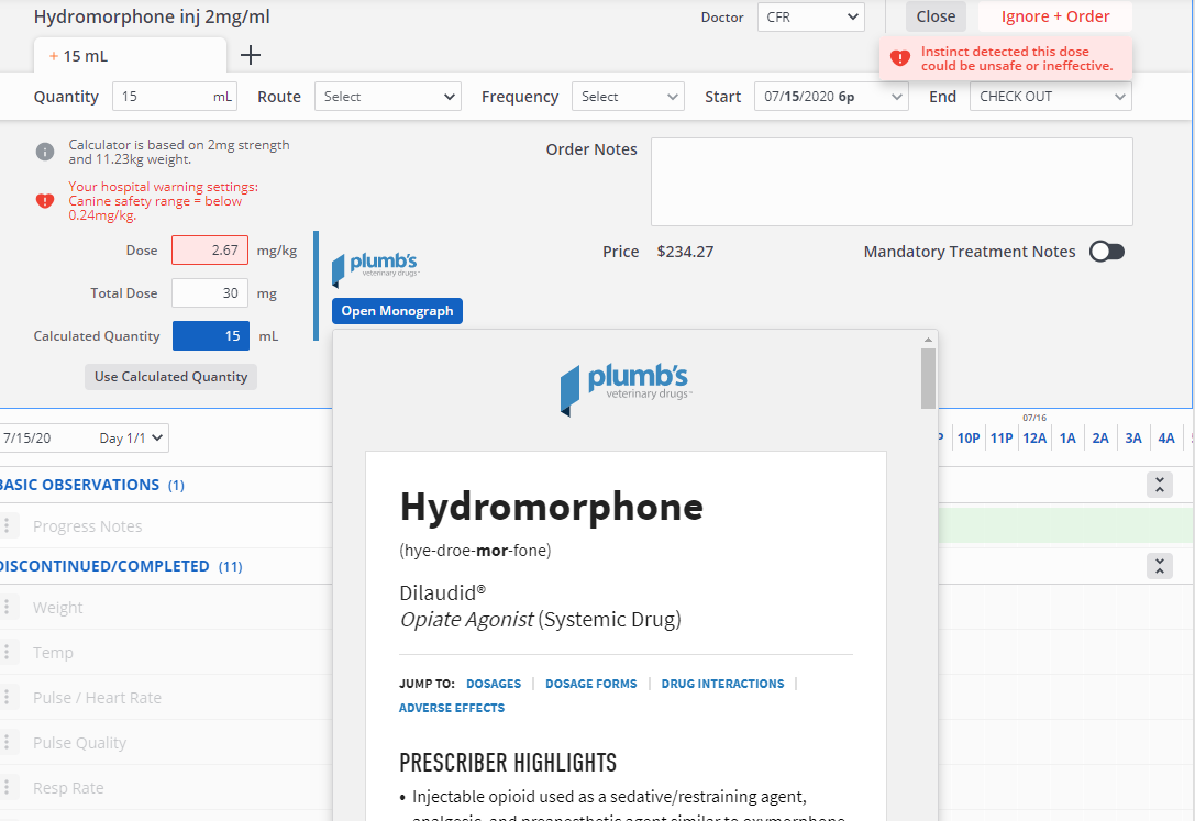 Screenshot of Instinct software, showing the user interface for checking drug doses against Plumb's Veterinary Drugs