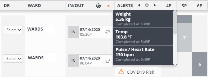 Screenshot of Instinct software, showing patient vitals